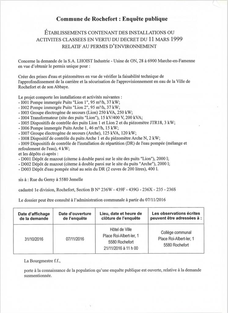 Commune de Rochefort : Enquête publique